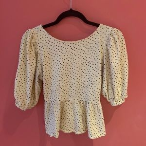 Yellow PolkaDot Puff Sleeve Open Back Lace up Top